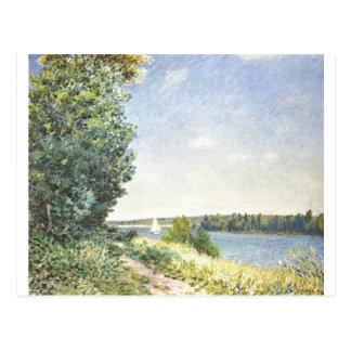 Carte Postale Alfred Sisley - huile de Normandie 1894 sur la