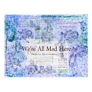 Carte Postale Alice au pays des merveilles nous sommes tous fous
