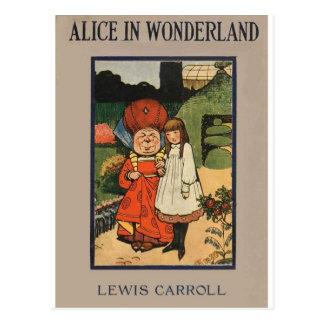 Carte Postale Alice dans la couverture de livre du pays des