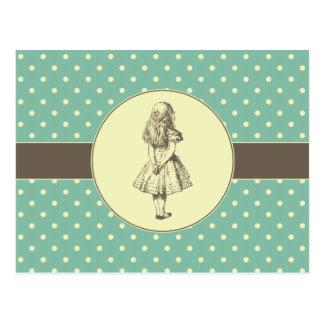 Carte Postale Alice en pois du pays des merveilles