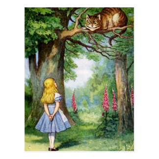 CARTE POSTALE ALICE ET LE CAT DE CHESHIRE