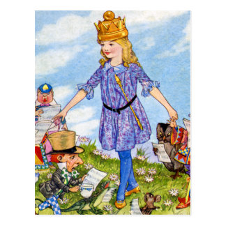 Carte Postale Alice transforme en Reine Alice au pays des