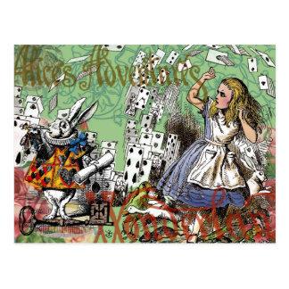 Carte Postale Alice vintage au pays des merveilles carde le thé