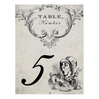 Carte Postale Alice vintage dans des nombres de Tableau de