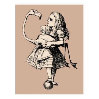 Carte Postale Alice vintage dans le flamant du pays des