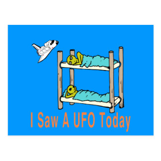 Carte Postale Aliens de bande dessinée voyant l'UFO