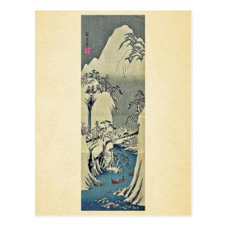 Carte Postale Allant la rivière de Fuji, hiver par Ando,