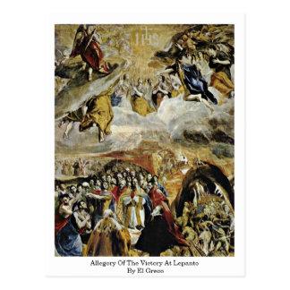 Carte Postale Allégorie de la victoire chez Lepanto par El Greco