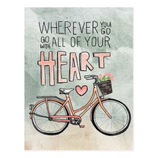 Carte Postale Allez avec tout votre coeur - bicyclette vintage