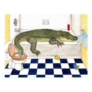 Carte Postale Alligator de baignoire