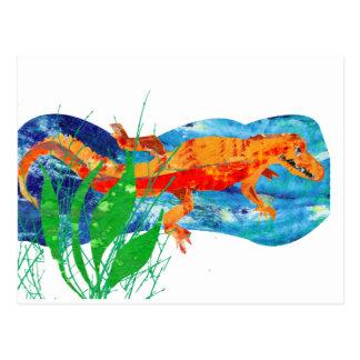 Carte Postale Alligator rouge drôle