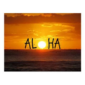 Carte Postale Aloha océan de coucher du soleil d'Hawaï