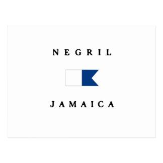 Carte Postale Alpha drapeau de piqué de Negril Jamaïque