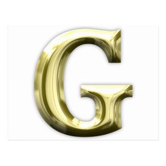 Carte Postale Alphabet brillant d'or d'or de la lettre G