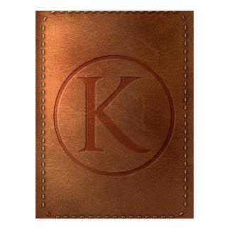 Carte Postale alphabet cuir lettre K