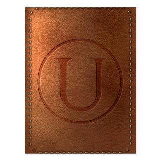 Carte Postale alphabet cuir lettre U