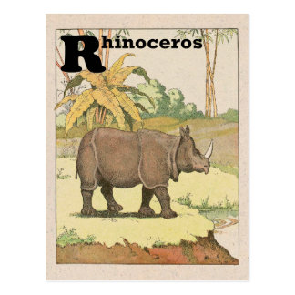 Carte Postale Alphabet de livre d'histoire de rhinocéros