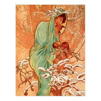 Carte Postale Alphons Mucha - le quatre-saisons - hiver