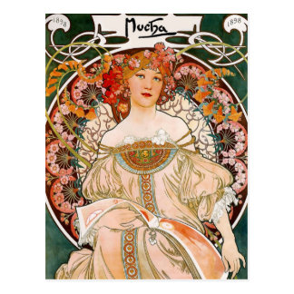Carte Postale Alphonse Mucha - demoiselle de honneur