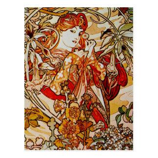 Carte Postale Alphonse Mucha - Madame avec une marguerite