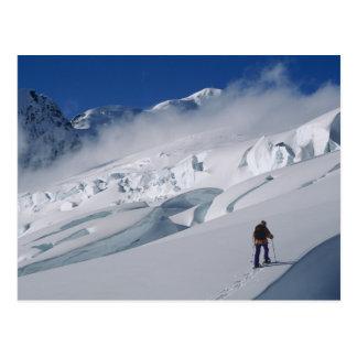 Carte Postale Alpiniste sur le glacier de Tasman dans le bâti