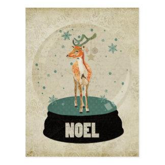 Carte postale ambre de Noel Snowglobe de mâle