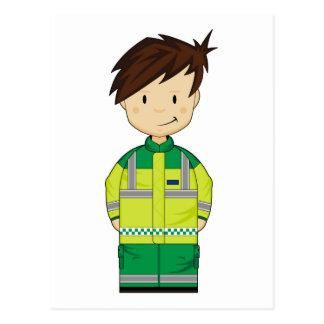 Carte Postale Ambulance mignonne EMT de bande dessinée