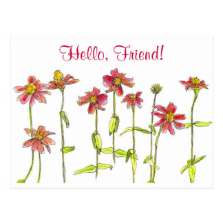 Carte Postale Ami rouge de fleur d'aquarelle de Zinnia bonjour