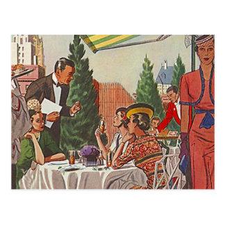 Carte Postale Amis vintages de déjeuner de thé d'après-midi de