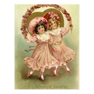 Carte Postale Amitié vintage rose de Saint-Valentin