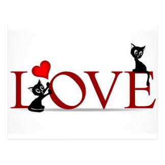 Carte Postale AMOUR avec de petits chats noirs de minou