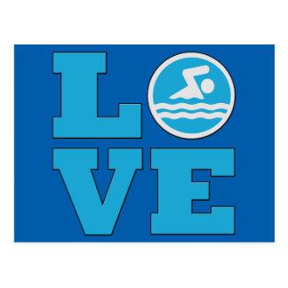 Carte Postale Amour de bain pour les nageurs ou les entraîneurs