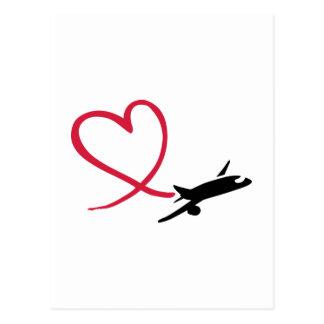 Carte Postale Amour de coeur d'avion