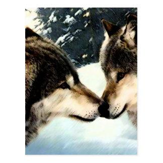 Carte Postale Amour de couples de neige d'hiver de neige de loup