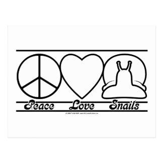 Carte Postale Amour et escargots de paix