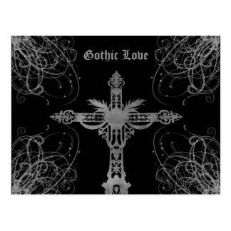 Carte Postale Amour gothique croisé gris sale