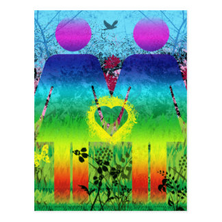 Carte postale, amour grunge de coeur d'arc-en-ciel