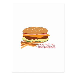 Carte Postale Amour pour tous les cheeseburgers
