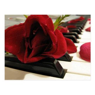 Carte Postale Amour romantique de rose rouge