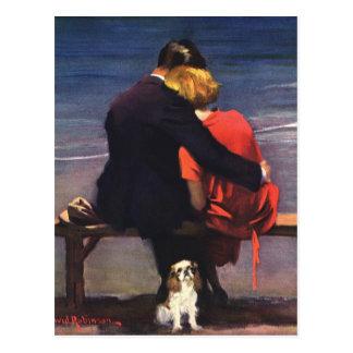 Carte Postale Amour romantique vintage, Romance sur la plage