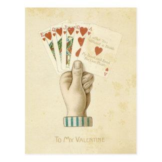 Carte Postale Amour rouge de coeurs de main de poker vintage de