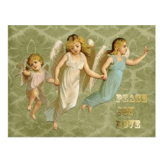 Carte Postale Amour victorien de joie de paix de trois anges