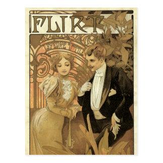 Carte Postale Amour vintage de Nouveau d'art Romance, flirt par