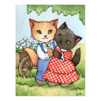 Carte Postale Amoureux de pays - art mignon de couples de chat