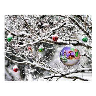 Carte Postale Ampoule de Noël pendant de l'arbre