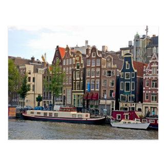 Carte Postale Amsterdam, maisons par le canal