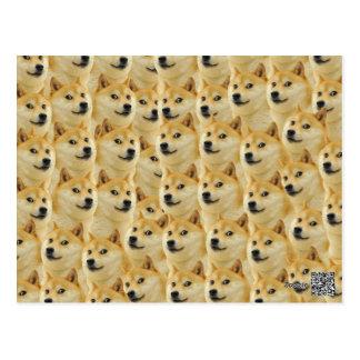 Carte Postale amusement de doge de shibe et meme drôle adorables