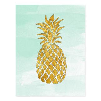 Carte Postale ananas d'or sur la menthe d'aquarelle