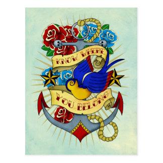 Carte Postale Ancre, hirondelle et roses