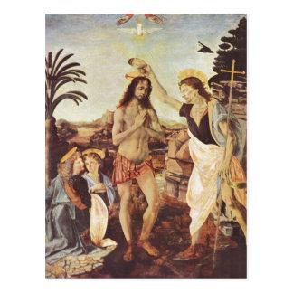 Carte Postale Andrea del Verrocchio meurent Taufe Christi um